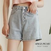單寧 短褲 Space Picnic|高腰四排釦單寧牛仔短褲(現貨)【C20062061】