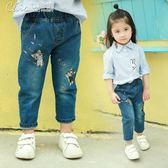 女寶寶牛仔褲休閒兒童長褲女童褲子2-9歲韓版女孩褲子「Chic七色堇」