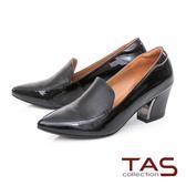 TAS異材質拼接尖頭粗跟鞋-人氣黑