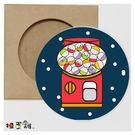 扭蛋雞-從心扭轉奇蹟 圓形吸水杯墊-扭蛋機 台灣原創插畫 桌面小物 療癒勵志 