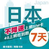 【TEL25】日本上網卡 7日 不限流量不降速 4G上網 吃到飽上網SIM卡