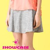 【SHOWCASE】十字紋寬腰波浪小圓裙/短裙(灰)