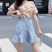 魚尾裙2021年新款夏季 顯瘦高腰裙牛仔半身裙不規則a字款短裙女裝 果果輕時尚