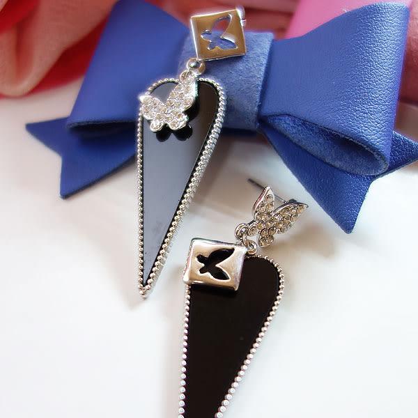 韓風時尚 不規則蝴蝶 晶鑽 耳環 Lt010 ◆ 韓妮小熊
