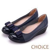 CHOiCE Q軟舒適優雅 閃耀蝴蝶結牛皮水鑽坡跟鞋-藍色