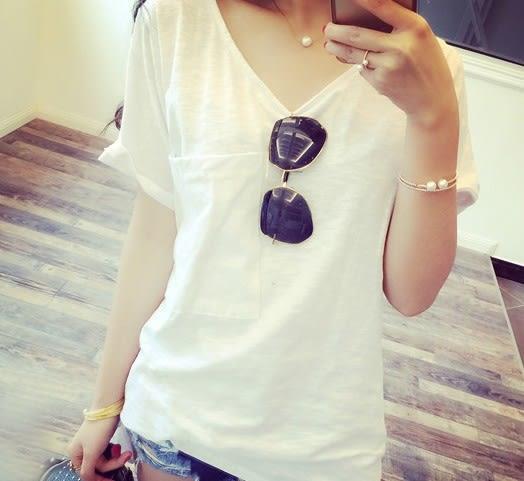 EASON SHOP(GU5044)大口袋V領長版側開衩竹節棉短袖T恤內搭衫女上衣服素色白棉T春夏裝韓版寬鬆長款