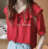 現貨白 V領繫帶荷葉邊雪紡衫 CC KOREA ~Q23377