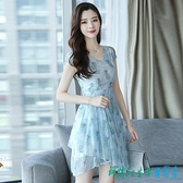 貴夫人碎花雪紡連身裙洋裝洋裝2020年流行新款小個子仙女超仙森系氣質中裙 OO11928【科炫3c】