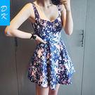 洋裝 韓版 露背印花背心裙高腰修身吊帶沙灘裙碎花連衣裙 小禮服