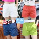 【V990】shiny藍格子-清爽夏彩‧糖果彩色時尚百搭寬鬆休閒短褲