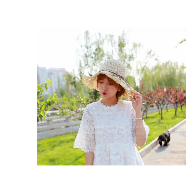 草帽 細繩 蝴蝶結 大帽沿 遮陽 沙灘 草帽【JDY0029】 BOBI  04/27