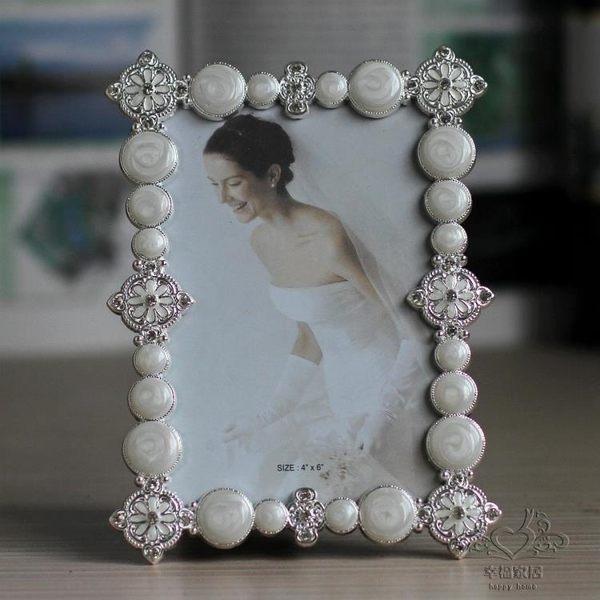 (中秋大放價)金屬相框 7寸金屬相框鑲鉆復古婚紗照相架新年禮物擺台家居飾品