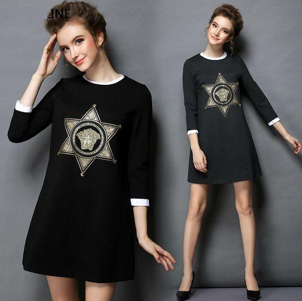 卡樂store…中大尺碼燙金印花拼接領長袖連衣裙短洋裝 L-5XL 2色 #bl607