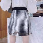 依Baby 短裙 秋冬新品千鳥格包臀裙百搭修身顯瘦高腰格短裙