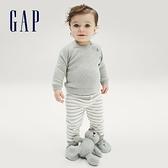 Gap嬰兒 布萊納系列 可愛針織長袖長褲套裝 678229-灰色