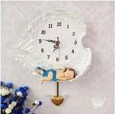 【衫衫來時】歐式創意卡通天使掛鐘靜音搖擺兒童臥室藝術掛錶樹脂壁鐘(大號男孩)