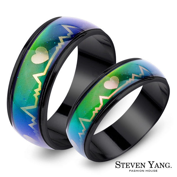 STEVEN YANG西德鋼飾 心電圖變色鋼戒指對戒 愛心*單個價格*