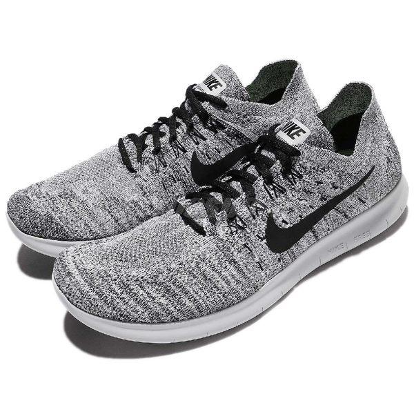 Nike 慢跑鞋 Free RN Flyknit 2017 灰 白 黑 雪花 男鞋 運動鞋【PUMP306】 880843-101
