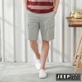 【JEEP】時尚造型口袋休閒短褲-淺灰