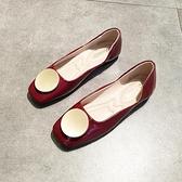 甜美娃娃鞋 春平底方頭單鞋女淺口軟底豆豆鞋圓扣奶奶鞋舒適上班工作鞋酒紅色 豆豆鞋