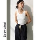畫風drawwind早春新款白色吊帶背心女內搭無袖針織彈力修身打底衫