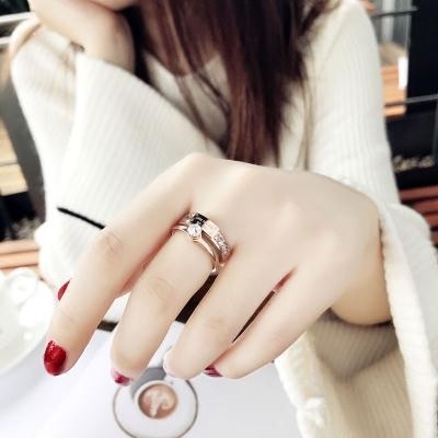 食指鈦鋼戒指女不掉色日韓玫瑰金潮人網紅學生個性大氣時尚指環女