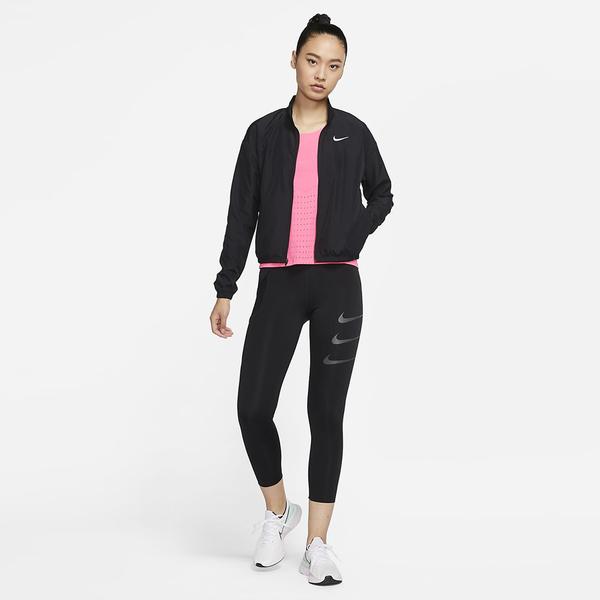 NIKE Dri-FIT Swoosh Run 女裝 外套 慢跑 立領 透氣 手提包 反光細節 黑【運動世界】DD4926-010