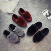 保暖棉鞋一腳蹬平底毛毛豆豆鞋冬女鞋中老年媽媽鞋老北京布鞋加絨