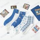 日系甜美可愛藍色網紗透氣夏季薄款中筒襪少女卡通網眼學院風襪子
