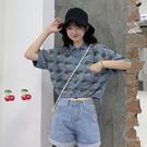 短袖POLO衫 辣妹穿搭短袖t恤女裝夏季polo小衫短款高腰甜酷風設計感小眾上衣