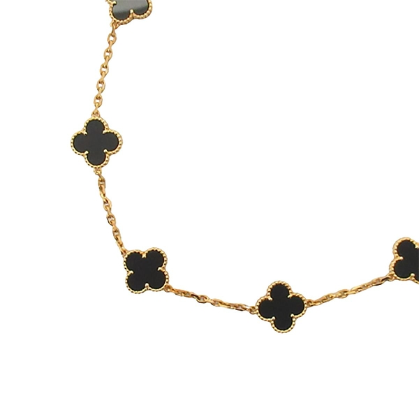 Van Cleef & Arpels 10玫黑色縞瑪瑙18K金項鍊Vintage Alhambra Necklace【BRAND OFF】