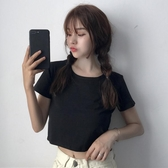 2020夏季女裝韓版純色百搭短款露臍修身短袖顯瘦黑色T恤上衣學生