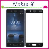 Nokia8 5.3吋 滿版9H 鋼化玻璃膜 絲印 黑色 螢幕保護貼 全屏鋼化膜 全覆蓋保護貼 防爆 (正面)