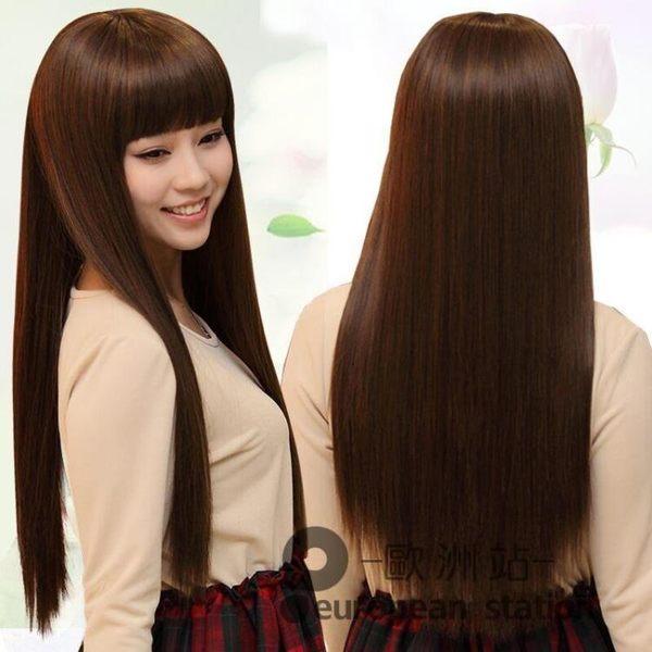 假髮/新款女齊劉海長直髮斜留海中長款蓬鬆全頭套整頂超長髮套