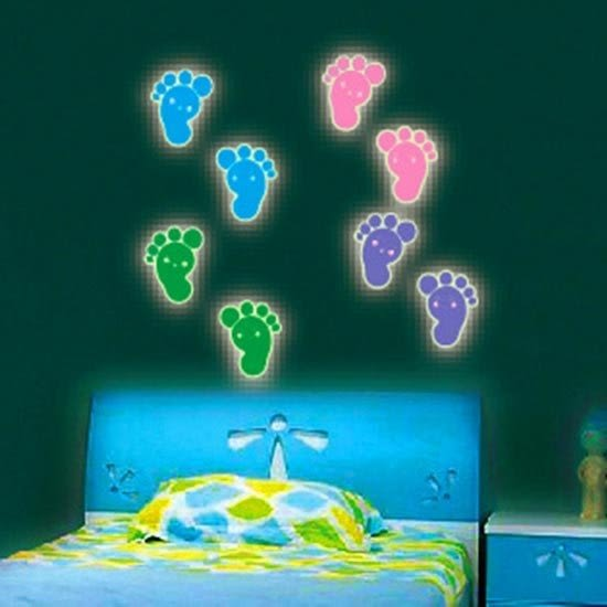 夜光壁貼 可愛小腳ㄚ 創意壁貼 無痕壁貼 壁紙 牆貼 室內設計 裝潢【SF0924】Loxin