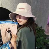 漁夫帽 chic風韓國夏天字母大沿男百搭日系盆帽遮陽帽韓版帽子
