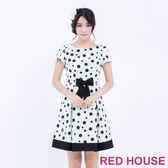 RED HOUSE-蕾赫斯-波卡點點打摺短袖洋裝(湖水綠色)