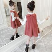 毛呢吊帶洋裝 女童洋裝春秋裝2020新款韓版兒童毛呢背心裙女孩裙子公主裙洋氣 小天後