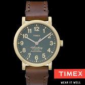 TIMEX 天美時 160週年紀念款 復古金框藍綠面皮帶錶x38mm 夜光面板 TXT2P58900 公司貨  高雄名人鐘錶