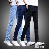 春季黑色牛仔褲男生彈力修身男士小腳休閒長褲子韓版潮流男裝『潮流世家』