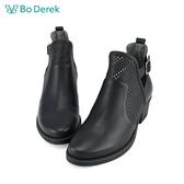 Bo Derek 擦色側鏤空短靴-黑色