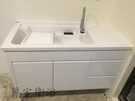 【麗室衛浴】媽媽的好幫手 實心人造石活動式洗衣檯浴櫃組 P-213  W120xD55 cm 可選左右平台