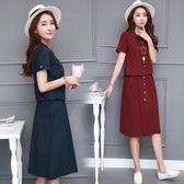 棉麻套裝 女兩件套中長款短袖夏季新款2018韓版寬松a字套裝裙潮 WE1159『優童屋』