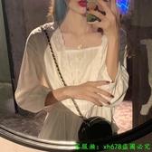 大尺碼襯衫 女裝超仙的法式小眾方領上衣夏胖mm收腰設計感白色襯衫女 大碼女裝 中大呎碼女裝