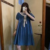 甜美系列 溫柔風甜美孔雀藍連衣裙女2021年新款復古寬松泡泡袖短袖初戀裙