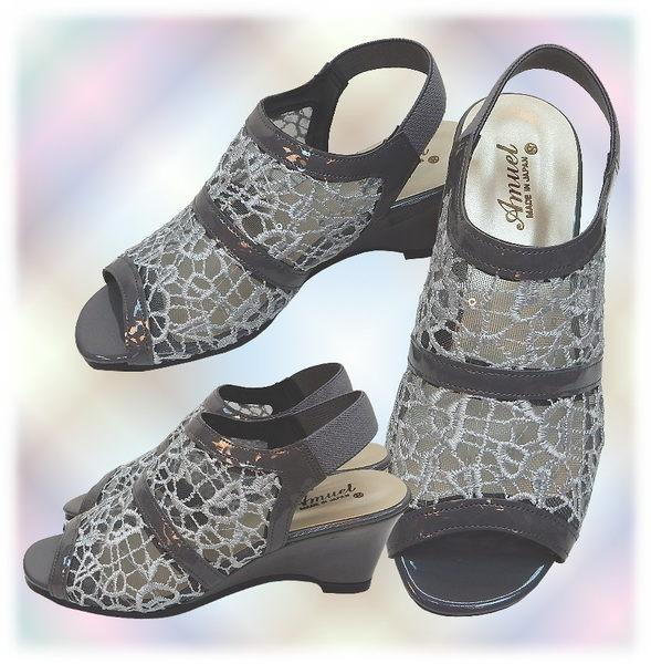 【波克貓哈日網】超舒適魚口鞋◇高跟涼鞋◇《灰色紗網》~日本製