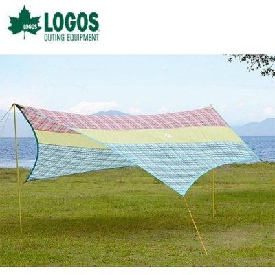 丹大戶外【LOGOS】日本愛麗絲435*330格紋三段式調整高度草地遮陽碟型天幕帳 71806515