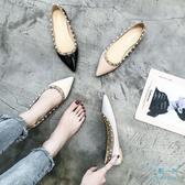 尖頭鞋 秋鞋女2019新款淺口單鞋鉚釘鞋女尖頭平底鞋子正韓芭蕾舞瓢 十點一刻