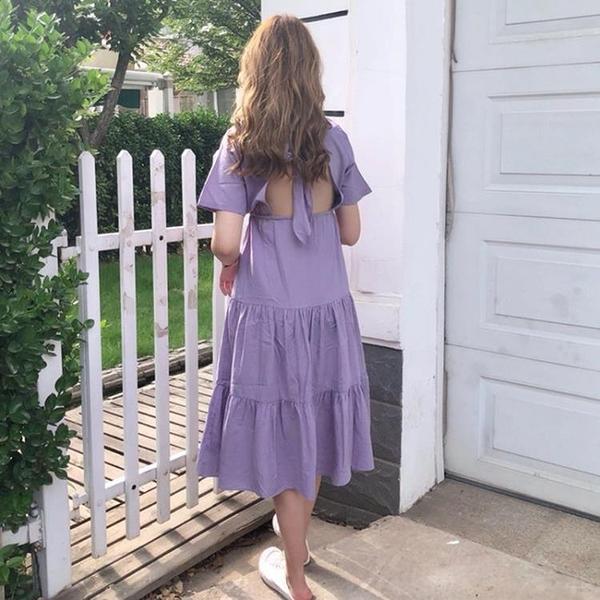 夏裝正韓氣質甜美后背系帶鏤空鬆緊腰中長版露背短袖連身裙 洋裝 長裙女 【快速出貨】