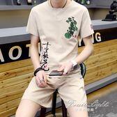 棉麻短袖t恤潮流半袖青年休閒中版風刺繡兩件套